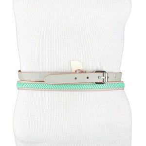 Gray Mint Green Faux Leather Double Wrap Belt